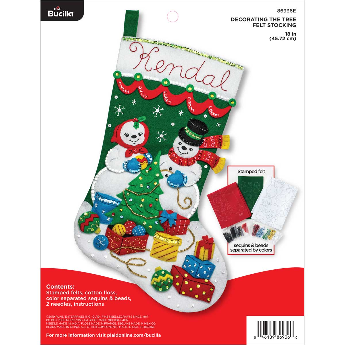 Bucilla ® Seasonal - Felt - Stocking Kits - Decorating the Tree - 86936E