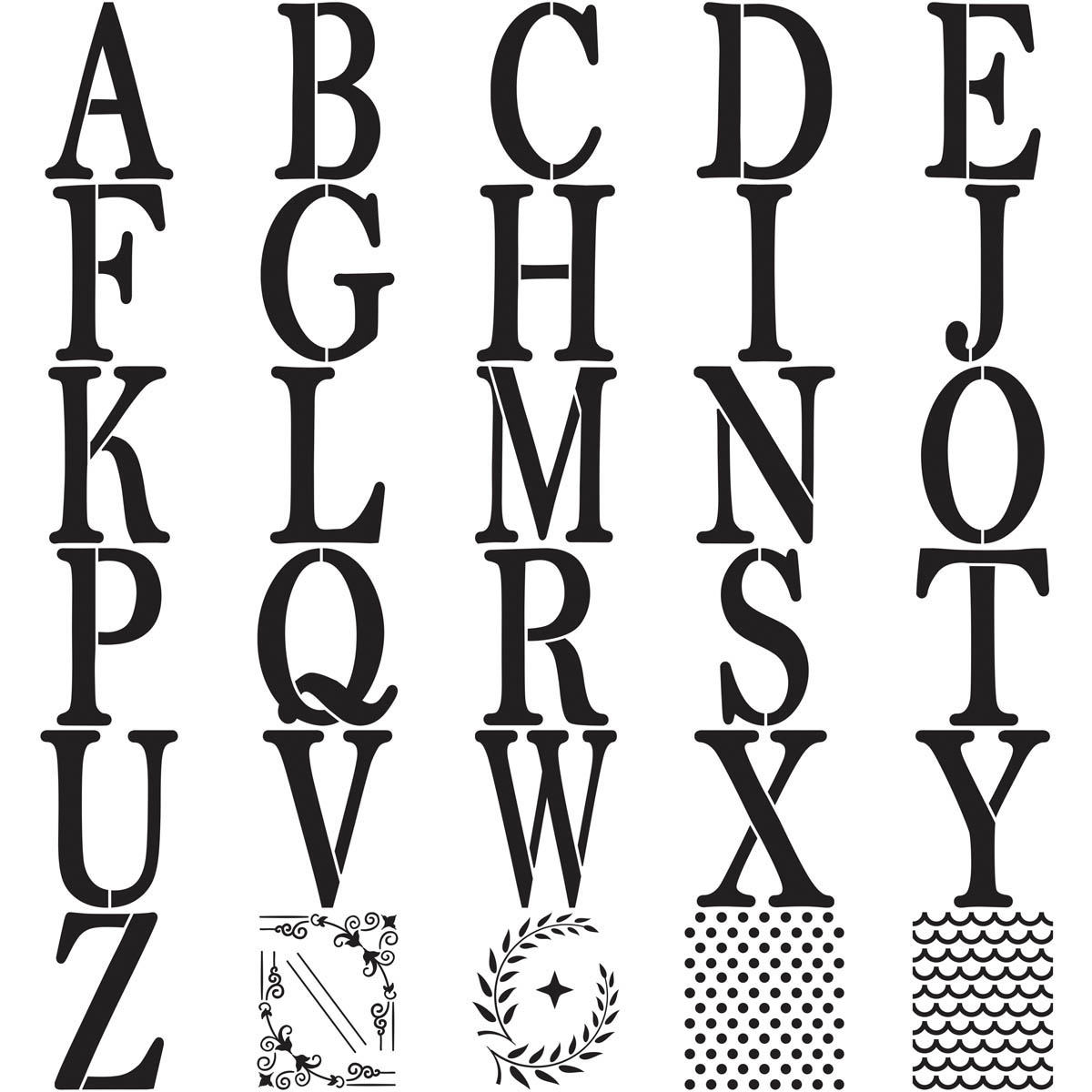 FolkArt ® Alphabet & Monogram Paper Stencils - Serif Font, 6