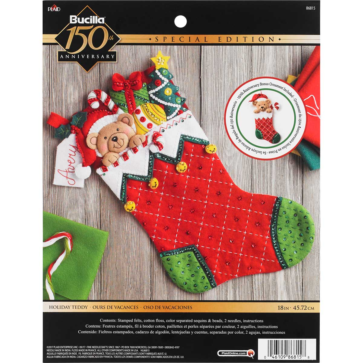 Bucilla ® Seasonal - Felt - Stocking Kits - Holiday Teddy - 86815