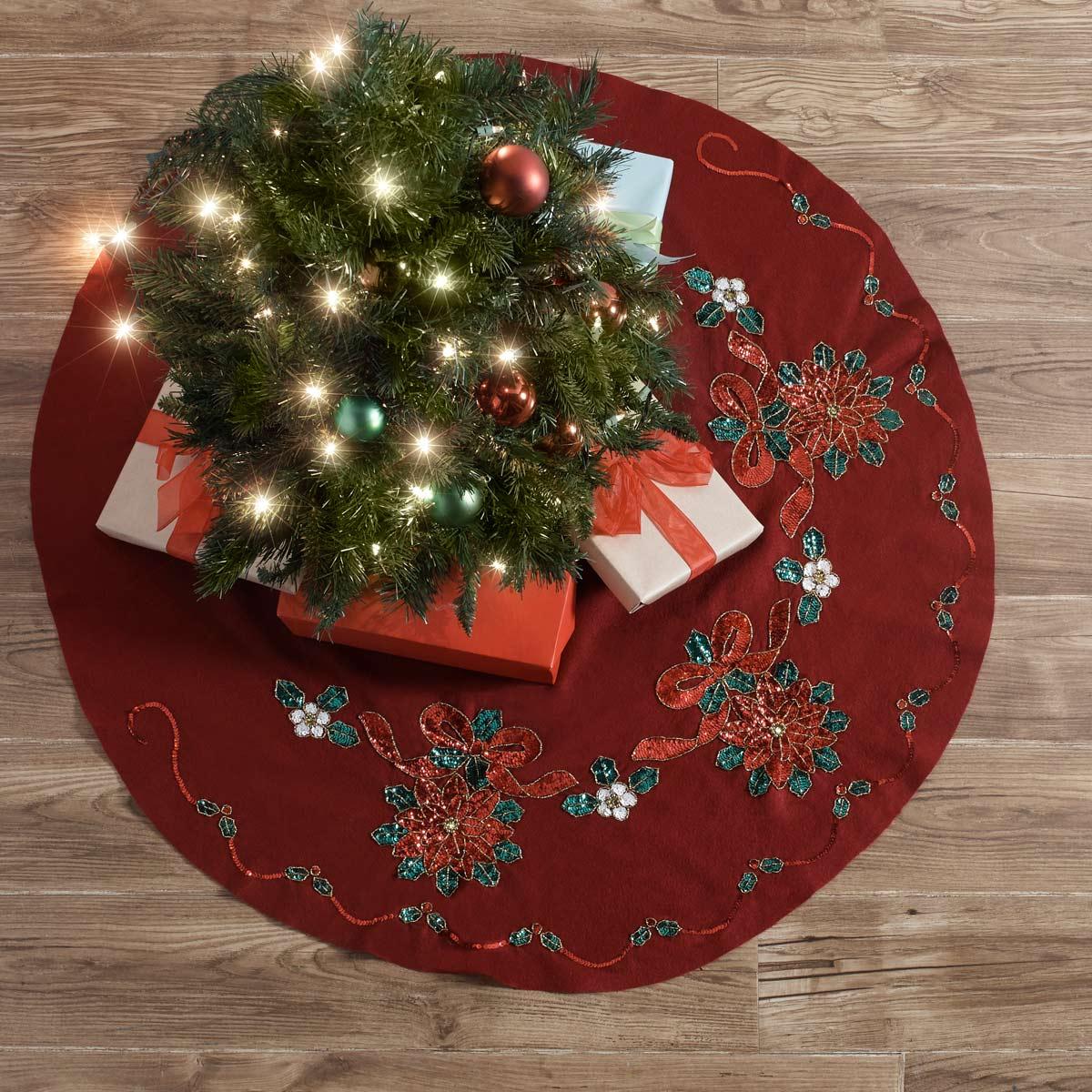 Bucilla ® Seasonal - Felt - Tree Skirt Kits - Glitzy Poinsettia - 89217E