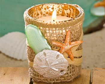 Beach Wedding Shell and Burlap Votive Candles