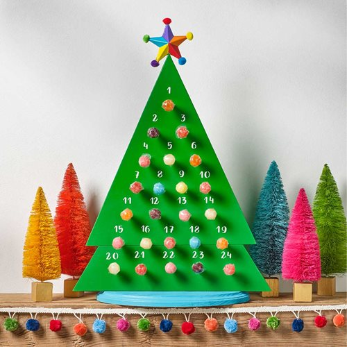 Bright Painted Christmas Tree Advent Calendar