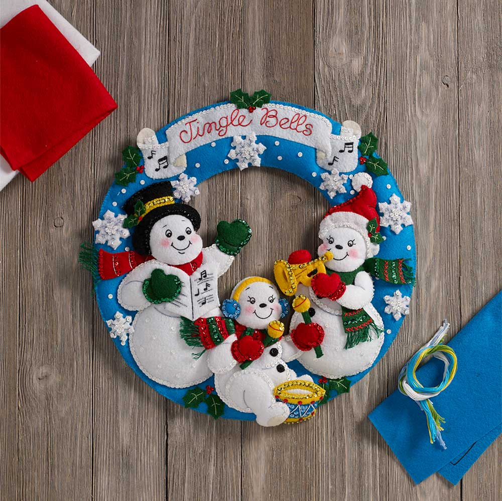 Bucilla ® Seasonal - Felt - Home Decor - Door/Wall Hanging Kits - Snowman Family Band