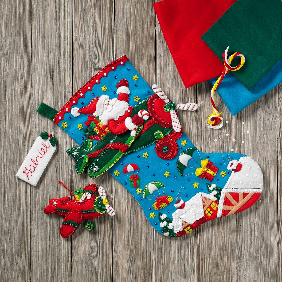 Bucilla ® Seasonal - Felt - Stocking Kits - Airplane Santa - 86863