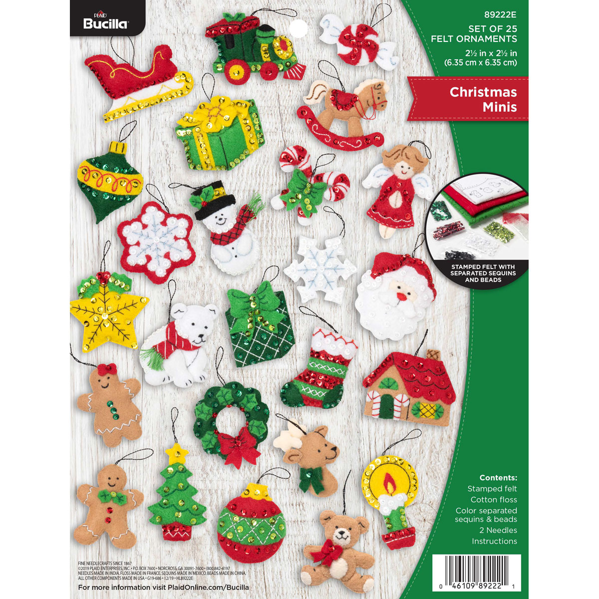 28 Pieces Christmas Felt Applique Kits Santa Christmas Bells Deer Tree Gift Boxes Non Woven Fabric Patches Stickers Badge for Hair Accessories Scrapbook Xmas Decorations