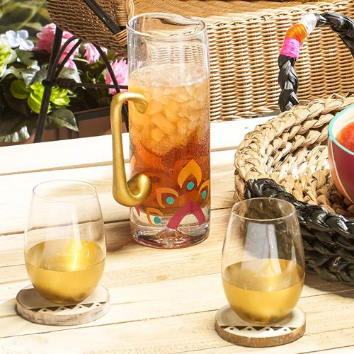 Boho Glass Pitcher, Glasses, and Coasters