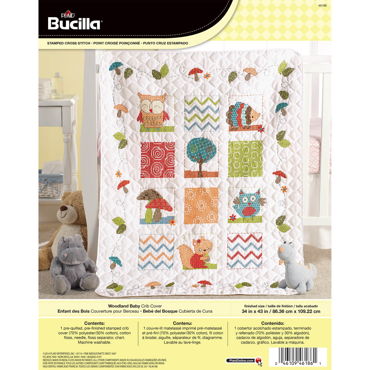 Bucilla ® Baby - Stamped Cross Stitch - Crib Ensembles - Woodland Baby - Crib Cover - 46186