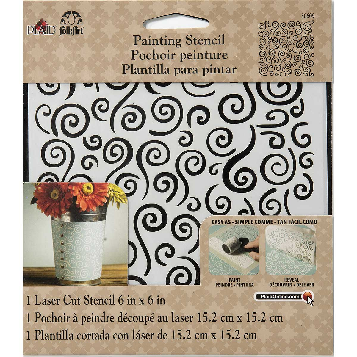 FolkArt ® Painting Stencils - Small - Swirl Background