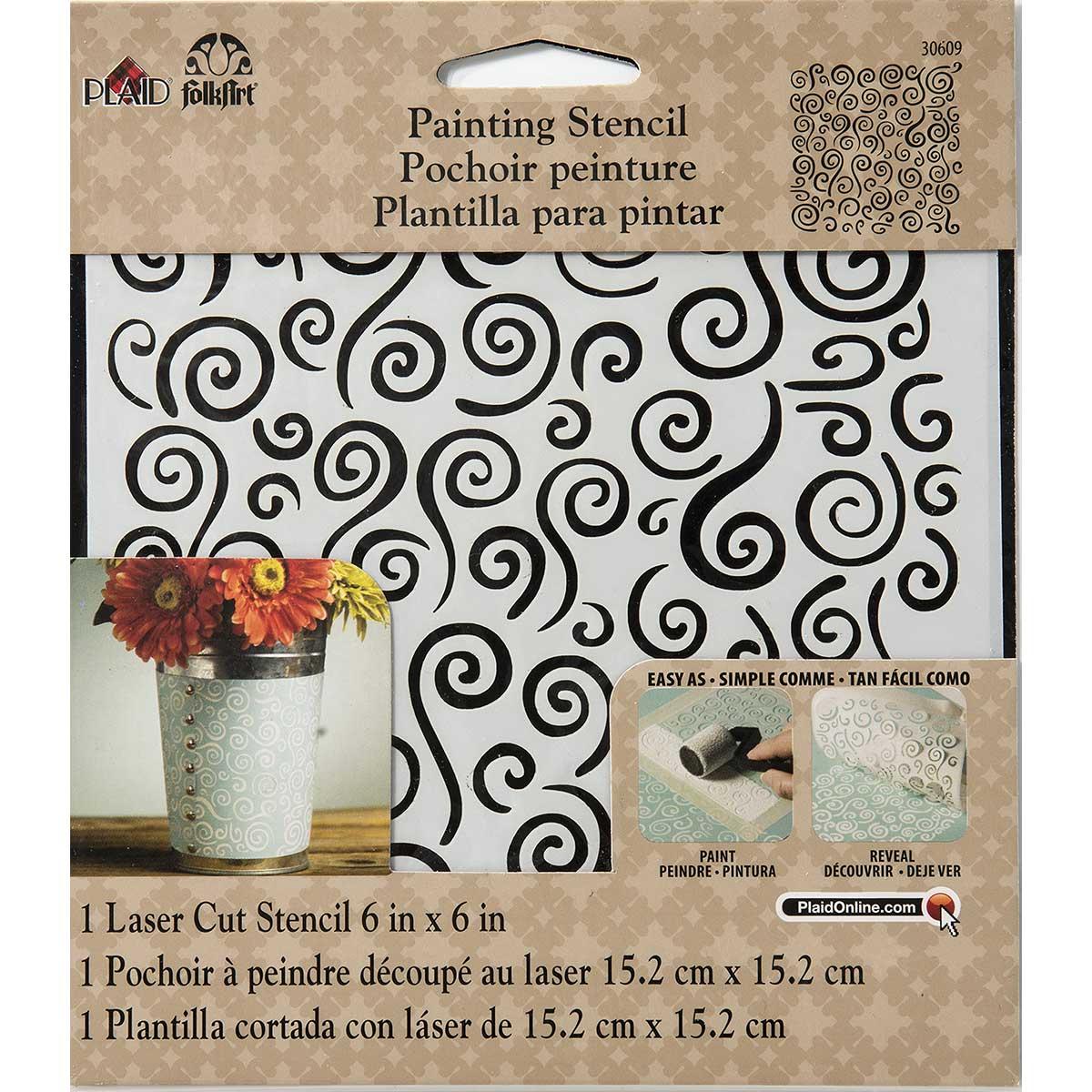 FolkArt ® Painting Stencils - Small - Swirl Background