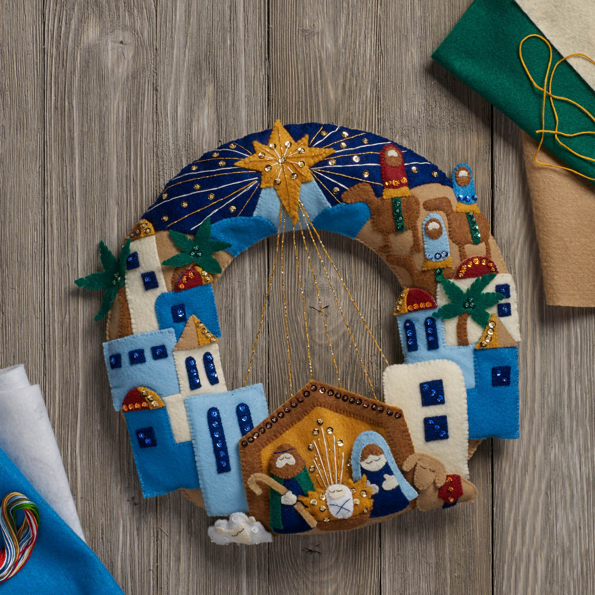 Bucilla ® Seasonal - Felt - Home Decor - Town of Bethlehem Wreath