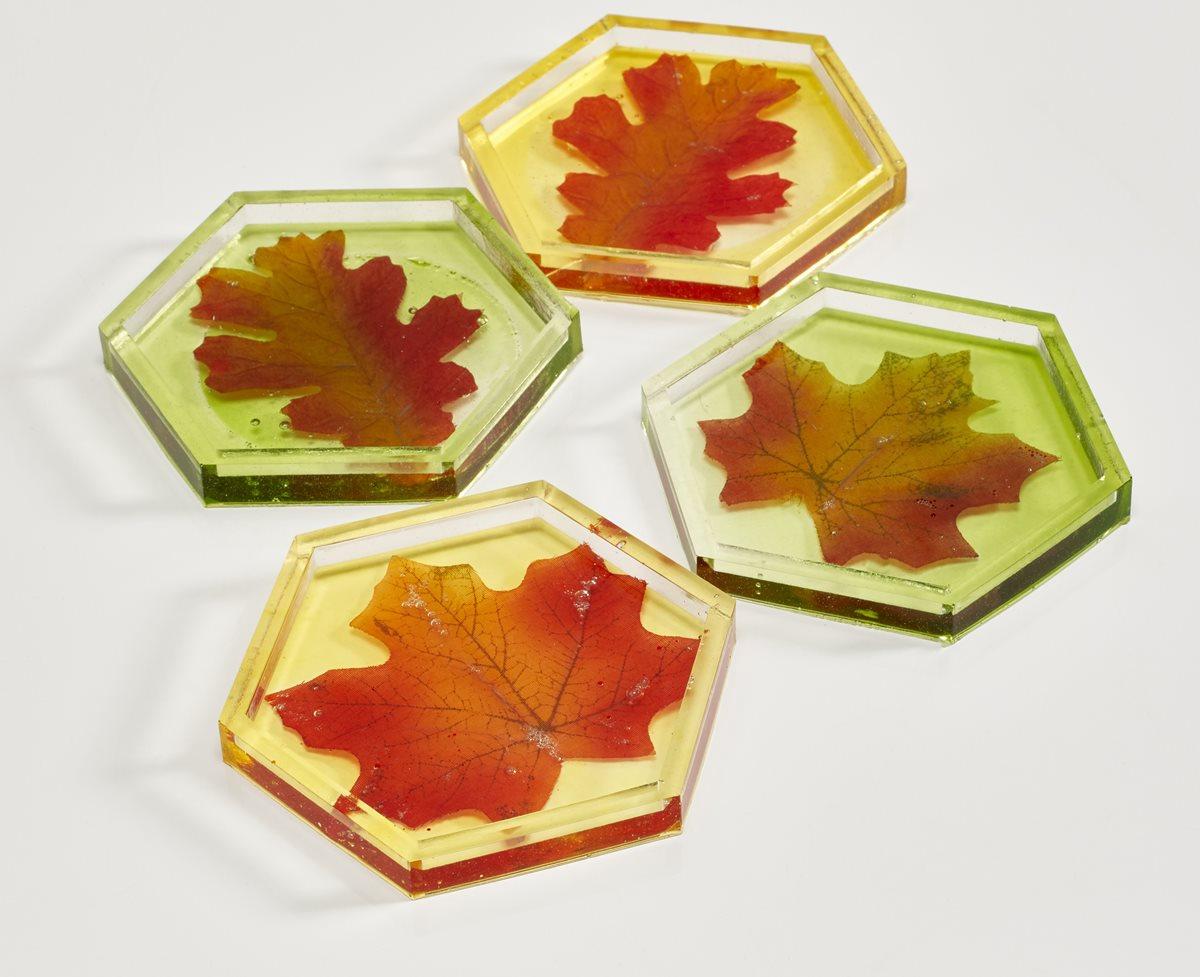 Mod Podge Resin Leaf Coasters