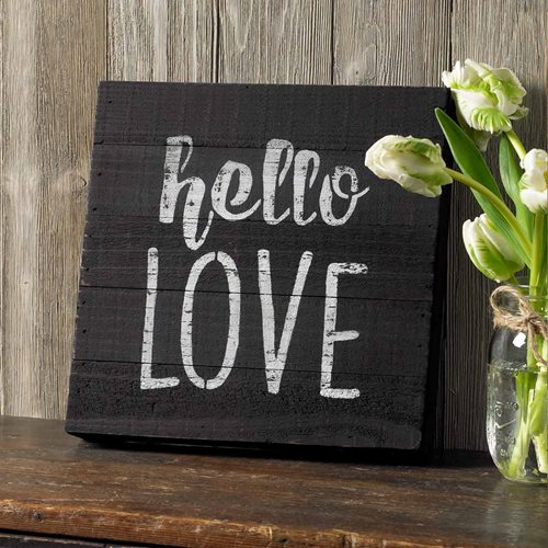 """Hello Love"" Stenciled Sign"