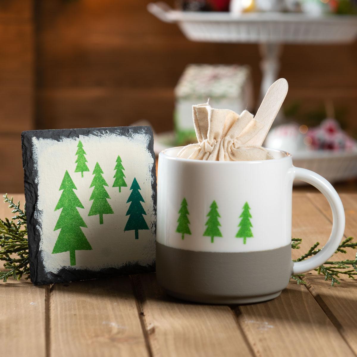 Holiday Tier Centerpiece - Canvas Gift Bag & Coaster Set
