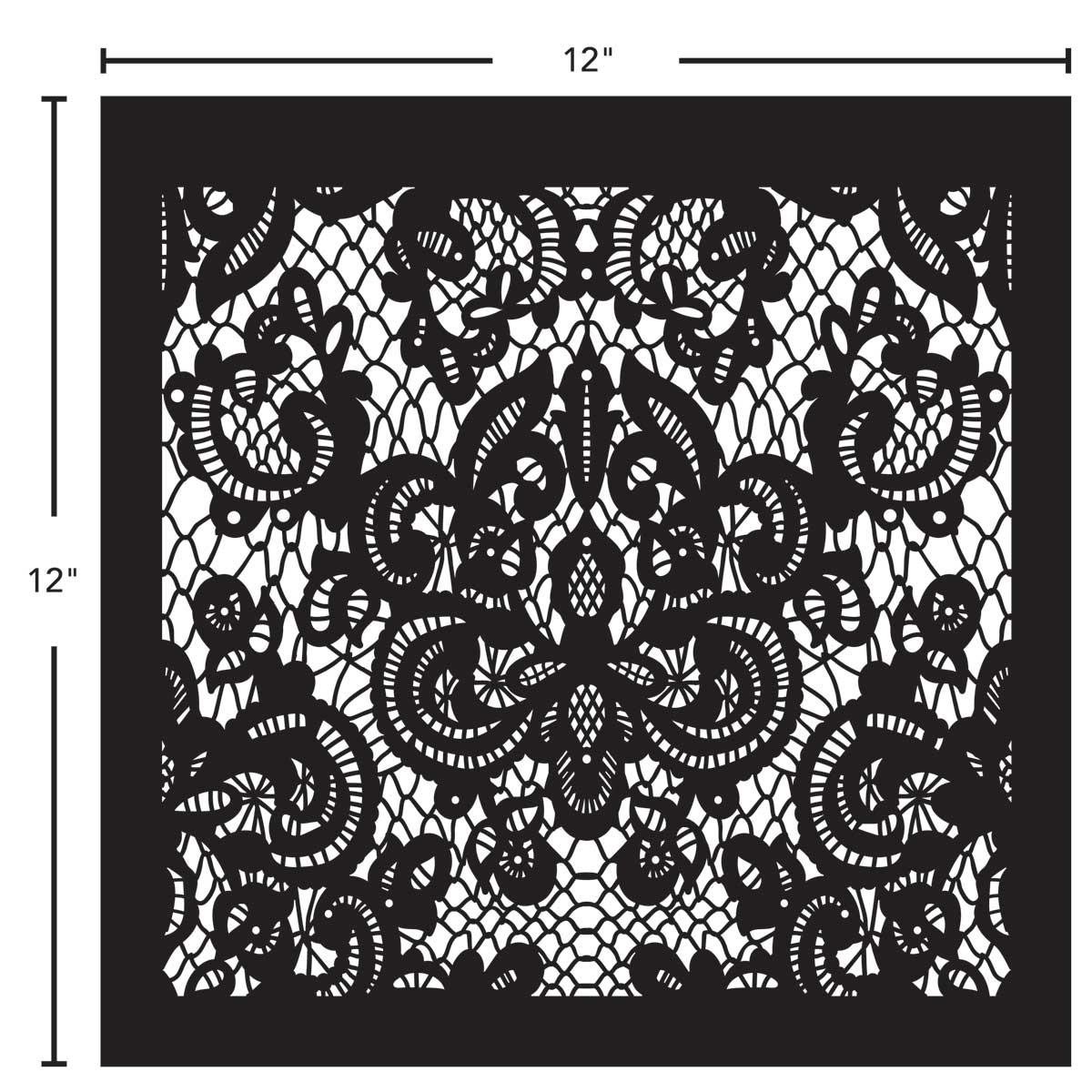 12 x 12 FolkArt Laser Cut Mylar Adhesive Stencil Delicate Lace