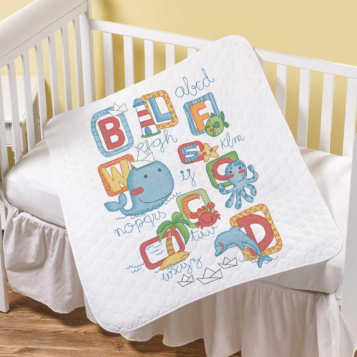 Bucilla ® Baby - Stamped Cross Stitch - Crib Ensembles - Sea Life - Crib Cover - 47879E