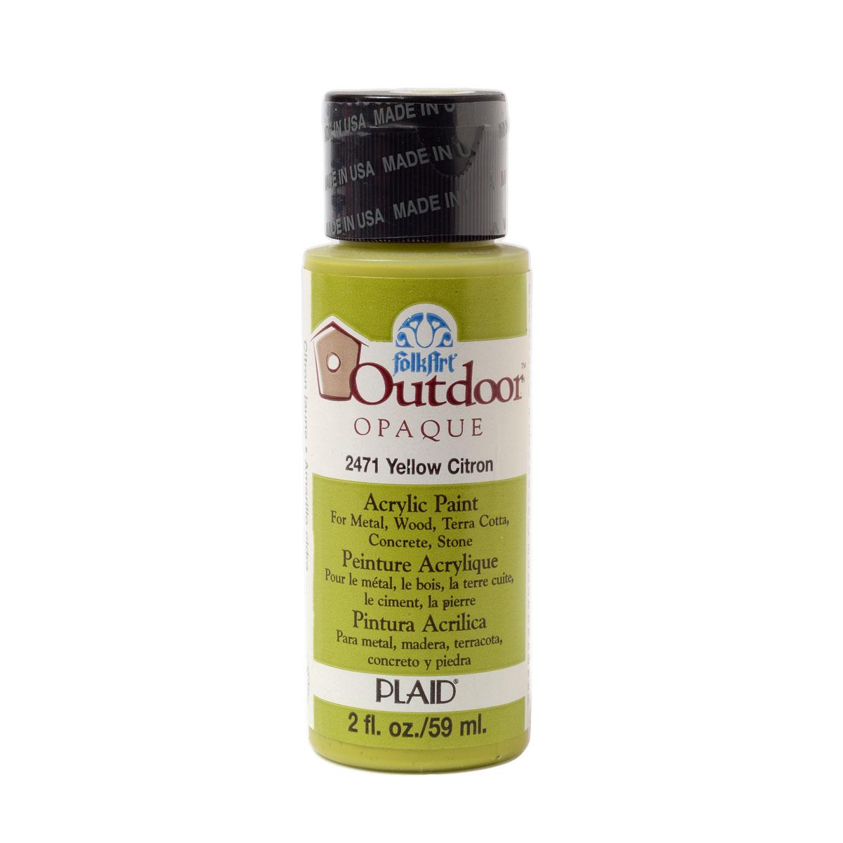 FolkArt ® Outdoor™ Acrylic Colors - Yellow Citron, 2 oz. - 2471