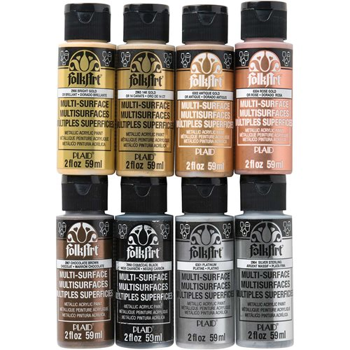 FolkArt ® Multi-Surface Metallic Acrylic Paint 8 Color Set - PROMOFAMET