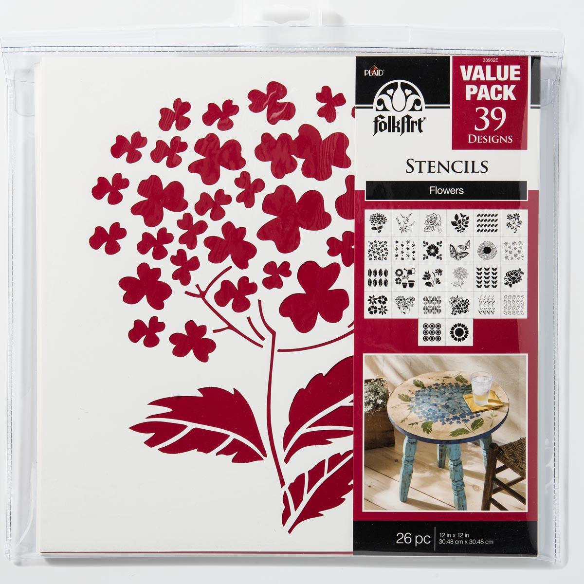 FolkArt ® Stencil Value Packs - Flowers, 12