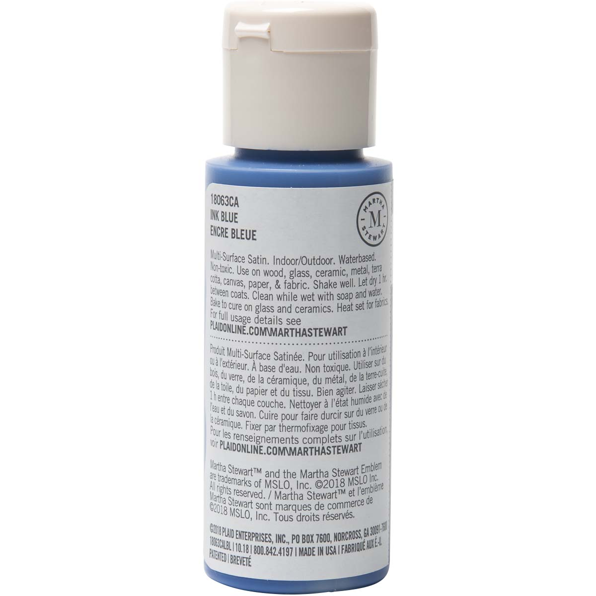 Martha Stewart ® Multi-Surface Satin Acrylic Craft Paint - Ink Blue, 2 oz. - 18063CA
