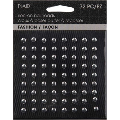 Plaid ® Hot Fix Nailhead Iron-Ons - Round Shiny Silver - 71024