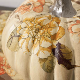 Pumpkin Decoupage with Fabric