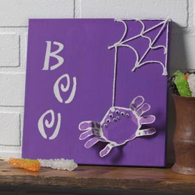 BOO Spider Handprint Canvas - DIY Kids Halloween Project