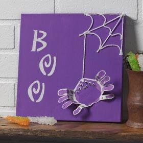BOO Spider Handprint Canvas - DIY Kids Halloween Project