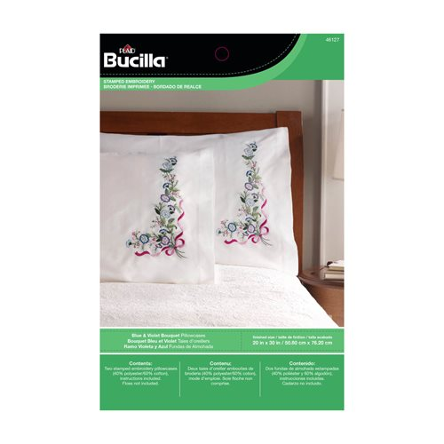 Bucilla ® Stamped Cross Stitch & Embroidery - Pillowcase Pairs - Blue & Violet Bouquet
