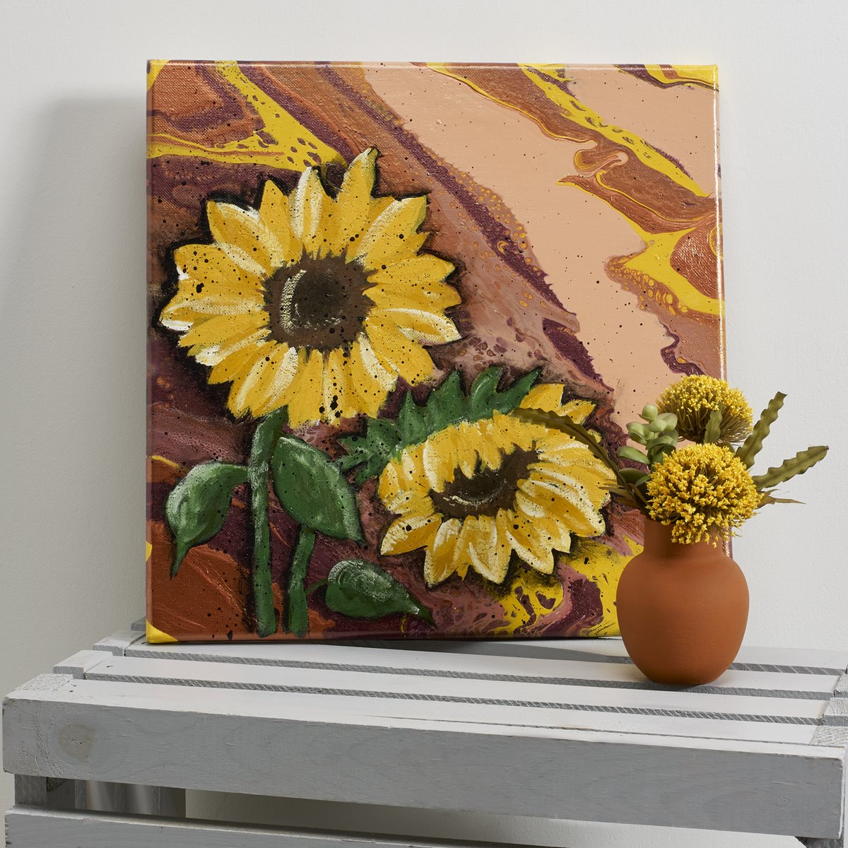 FolkArt Sunflowers on Poured Fall Colors