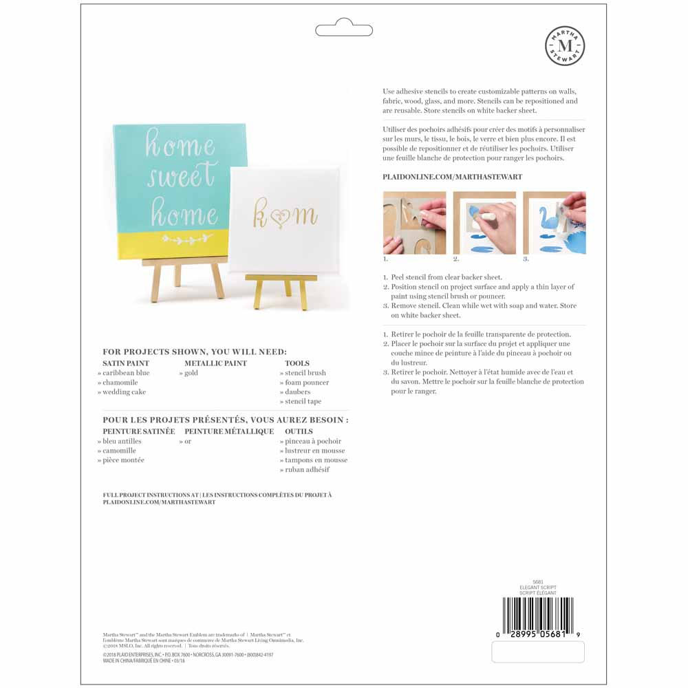 Martha Stewart ® Adhesive Stencil - Elegant Script - 5681