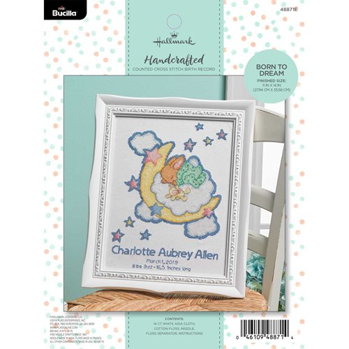Bucilla ® Baby - Counted Cross Stitch - Crib Ensembles - Hallmark - Born to Dream - Birth Record Kit