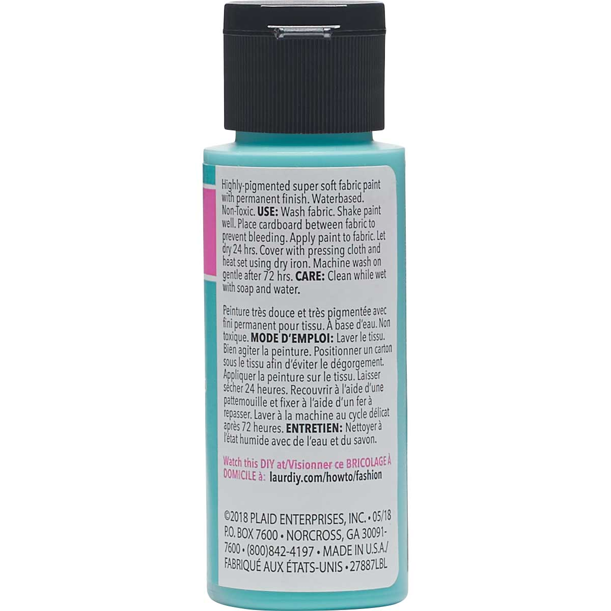 LaurDIY ® Perfect Fabric Paint - Aquamarine, 2 oz.
