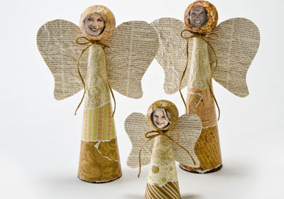 Styrofoam Cone Angel Family