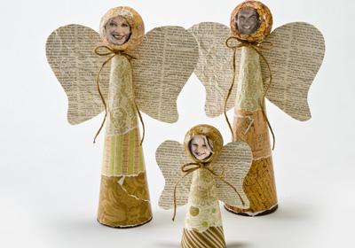 Styrofoam Cone Angel Family