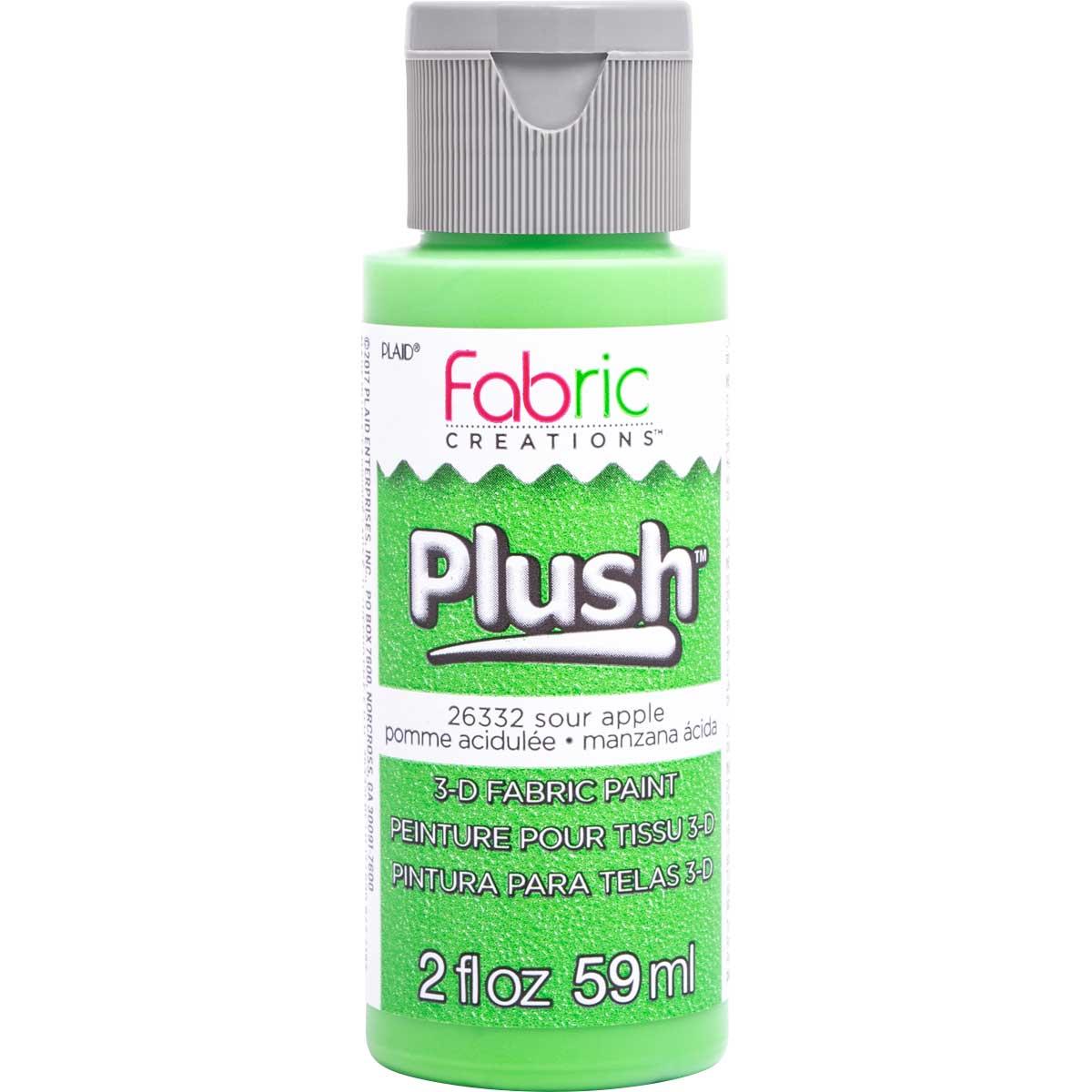 Fabric Creations™ Plush™ 3-D Fabric Paints - Sour Apple, 2 oz. - 26332