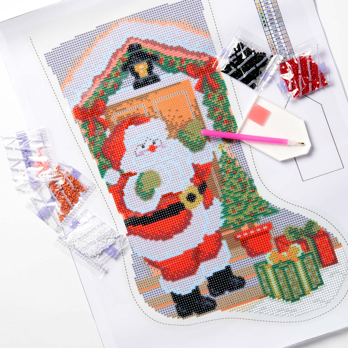 Bucilla ® Seasonal - Gem Dots - Stocking Kits - Santa At The Door - 89319E