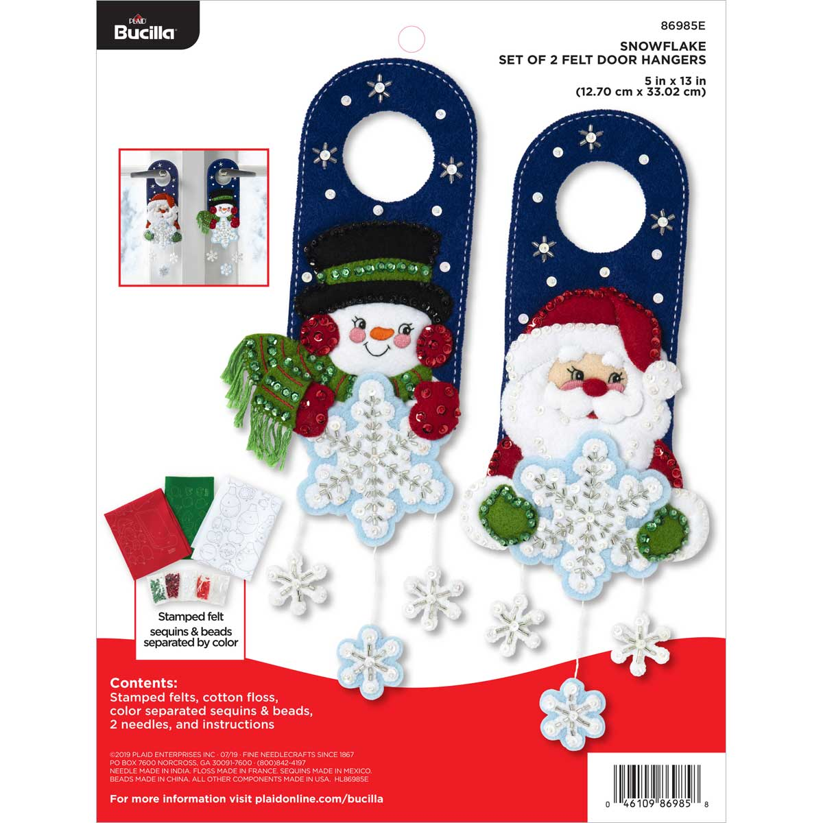 Bucilla ® Seasonal - Felt - Home Decor - Door Hangers - Snowflake