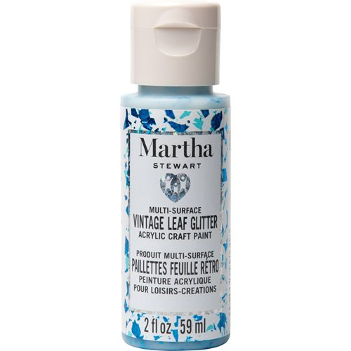 Martha Stewart ® Multi-Surface Vintage Leaf Glitter Acrylic Craft Paint CPSIA - Blue Raspberry, 2 oz