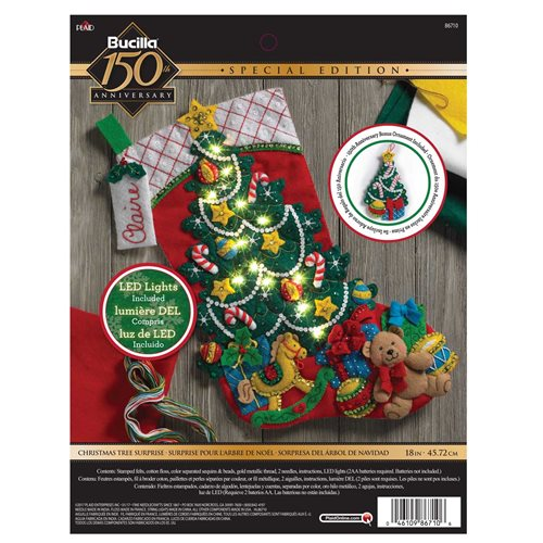 Bucilla ® Seasonal - Felt - Stocking Kits - Christmas Tree Surprise with Lights - 86710