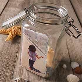 Instagram Photo Transfer to Glass Snack Jar