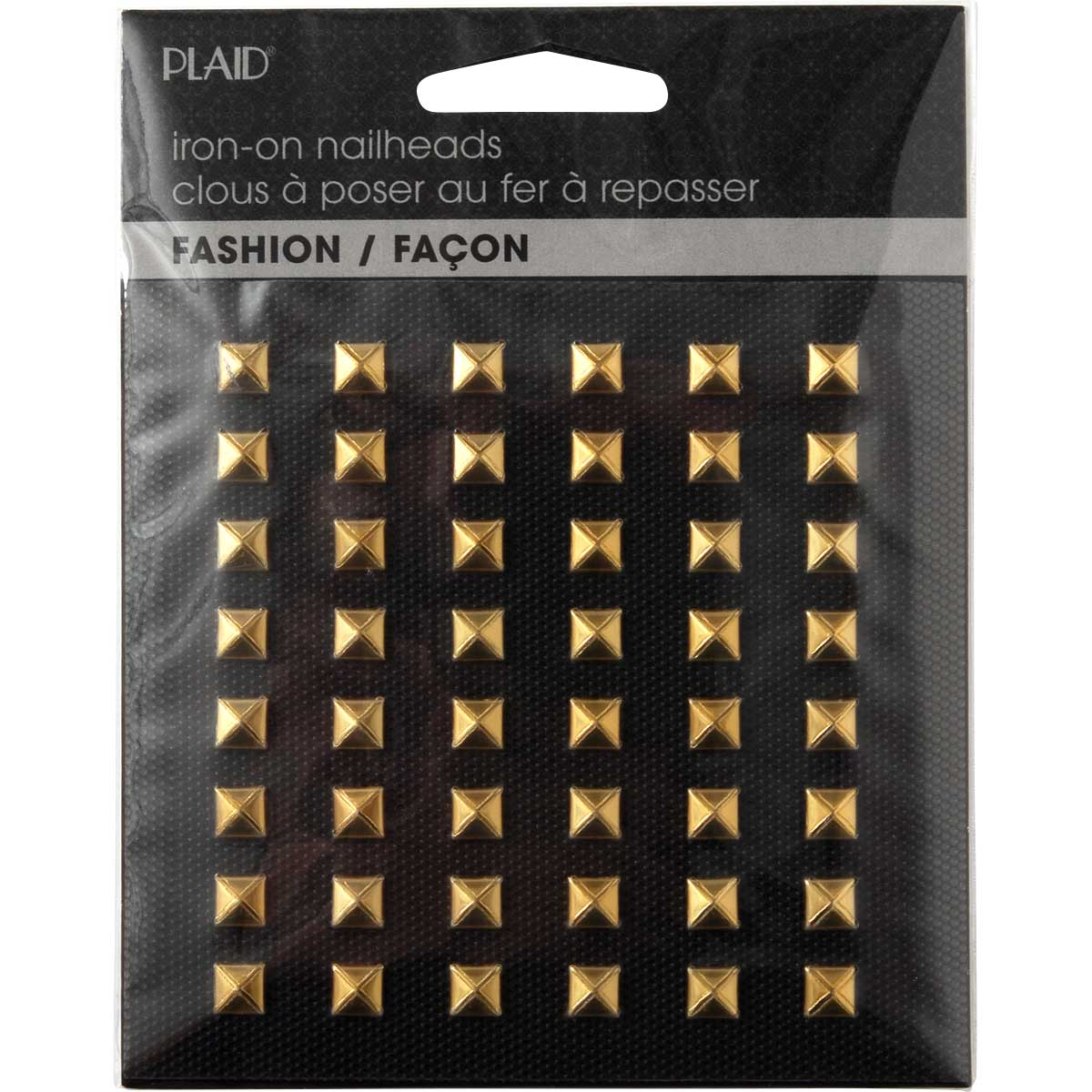 Plaid ® Hot Fix Nailhead Iron-Ons - Pyramid Shiny Gold - 71032