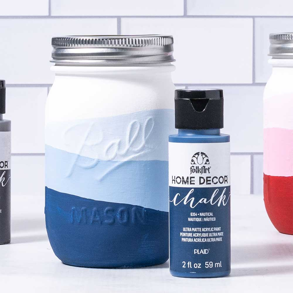 Chalk Painted Ombre Mason Jars