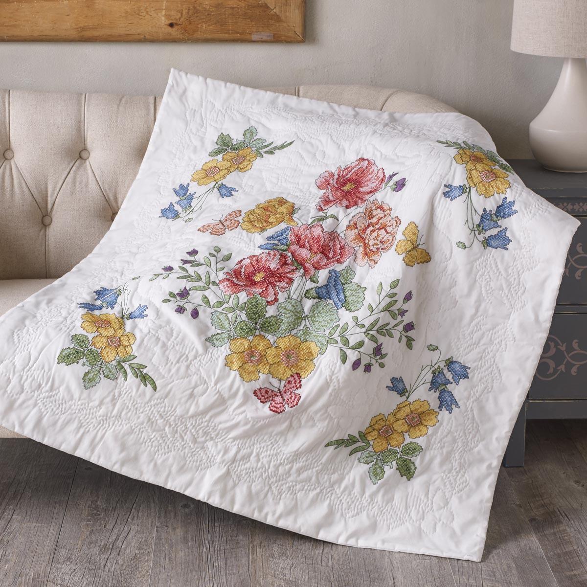 Shop Plaid Bucilla ® Stamped Cross Stitch - Lap Quilts - Flowers ... : bucilla cross stitch baby quilts - Adamdwight.com