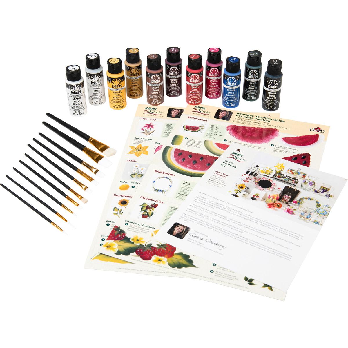 FolkArt ® One Stroke™ Enamels™ Glass Painting Kit - 99210