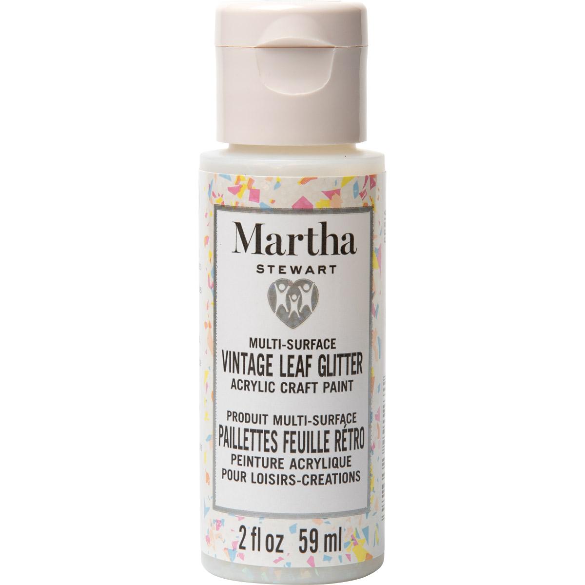 Martha Stewart® 2oz Multi-Surface Vintage Leaf Glitter Acrylic Craft Paint - Sugar Cube