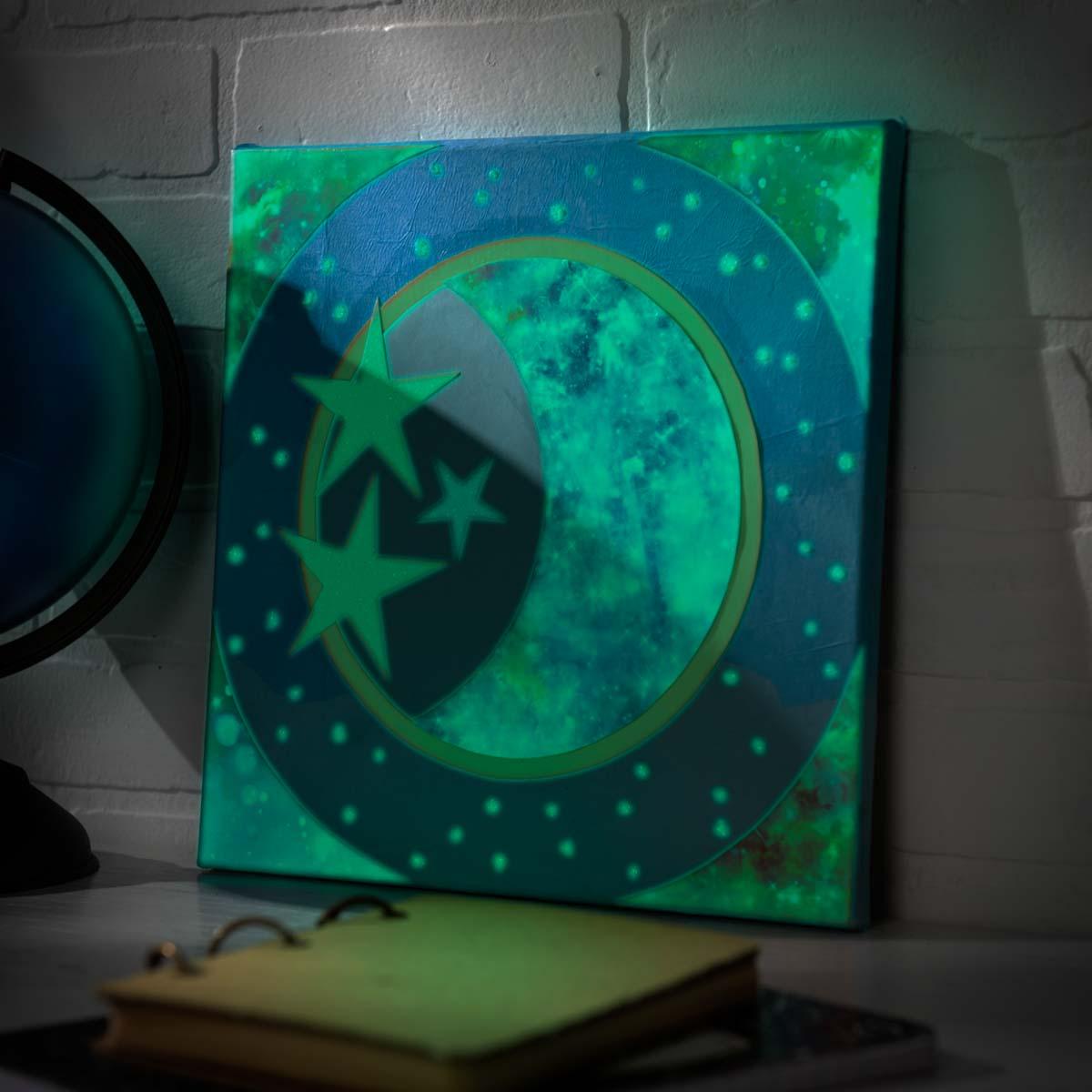Glow In The Dark Mod Podge Moon Canvas