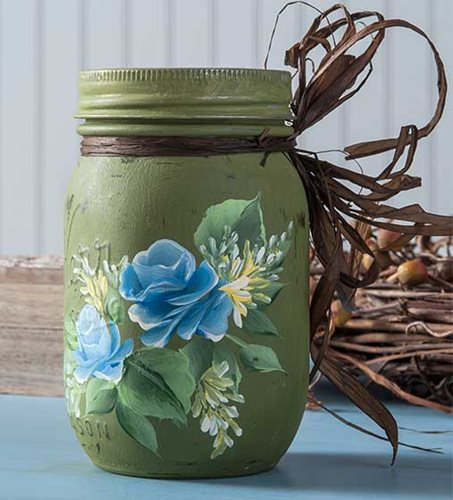 Decorated Blue Roses Mason Jar