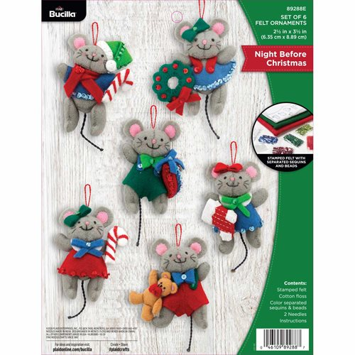 Bucilla ® Seasonal - Felt - Ornament Kits - Tis a Night Before Christmas - 89288E