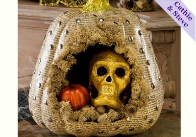 Pumpkin and Skull Diorama