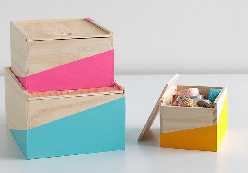 Color-blocked Desktop Storage Boxes DIY Office Decor